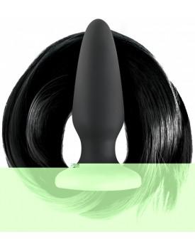 Anální kolík s černým koňským ocasem Filly Tails