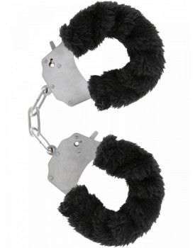 Kovová pouta na ruce s plyšovým kožíškem - černá