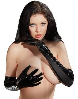 Lakované rukavice s elastickými vsadkami - Black Level