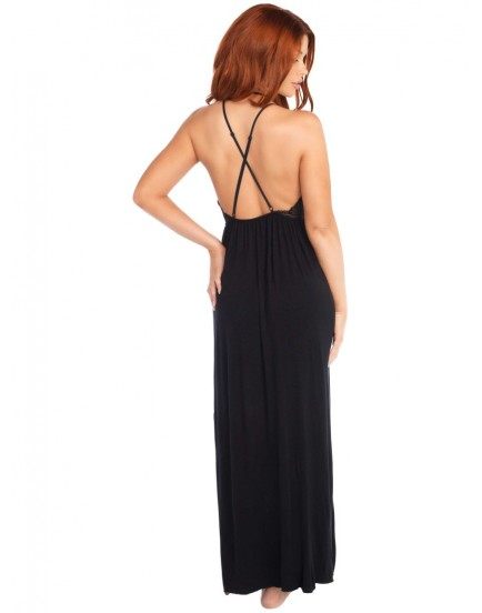 Dlouhé šaty s průsvitným krajkovým topem