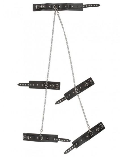 Set kožených pout a obojku (spojených řetězy) ZADO
