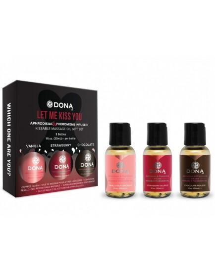 Dárková sada masážních olejů DONA Let Me Kiss You - 3x 30 ml