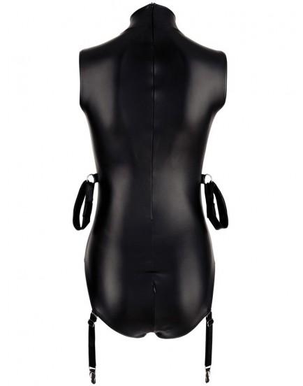 Lesklé body s pouty na paže a zipy na prsou a v rozkroku - BONDAGE Cottelli Collection