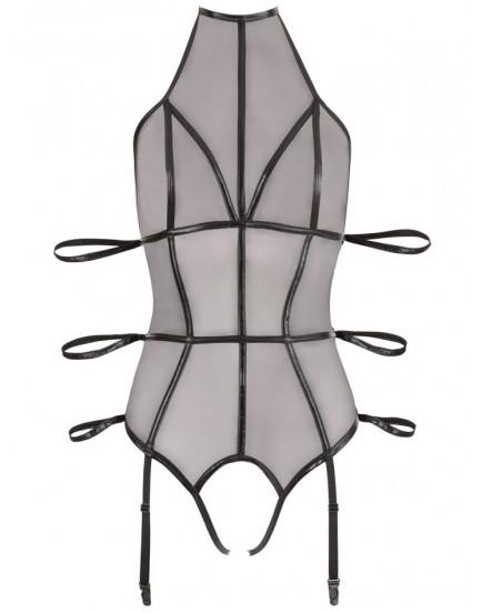 Body s pouty na ruce, otevřeným rozkrokem a otvory na prsou - Cottelli Collection