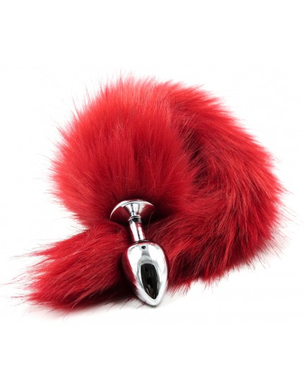 Kovový anální kolík s ocáskem (liška), červený