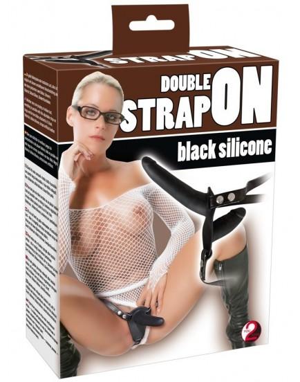 Dvojitý strap-on ze silikonu - černý