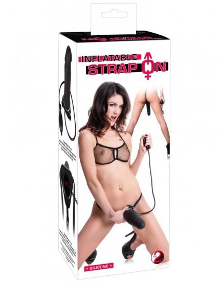 Nafukovací dutý připínací penis s postrojem