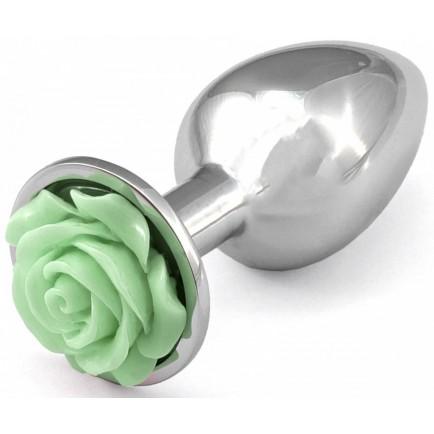 Kovový anální kolík s růžičkou (světle zelený)