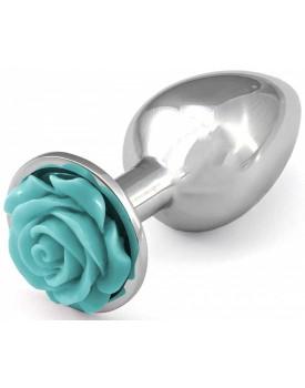 Kovový anální kolík s růžičkou (světle modrý)