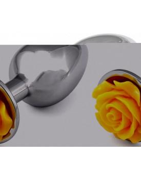 Kovový anální kolík s růžičkou (žlutý)