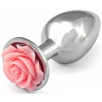 Kovový anální kolík s růžičkou (světle růžový)