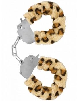 Kovová pouta na ruce s plyšovým kožíškem - leopard