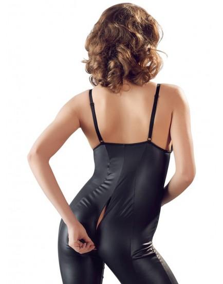Lesklý overal s dlouhým dvoucestným zipem a zipy na prsou Cottelli Collection