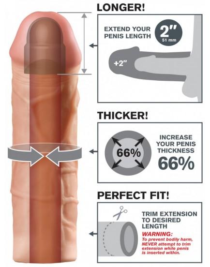 Realistický návlek na penis MEGA (zvětší o 5,1 cm)