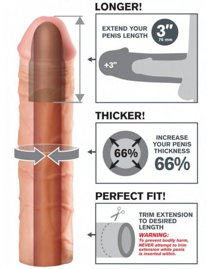 Realistický návlek na penis MEGA (zvětší o 7,6 cm)