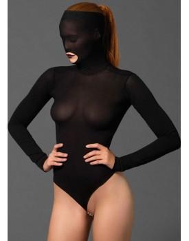 Body s perlovým řetízkem v rozkroku a maskou na hlavu Leg Avenue