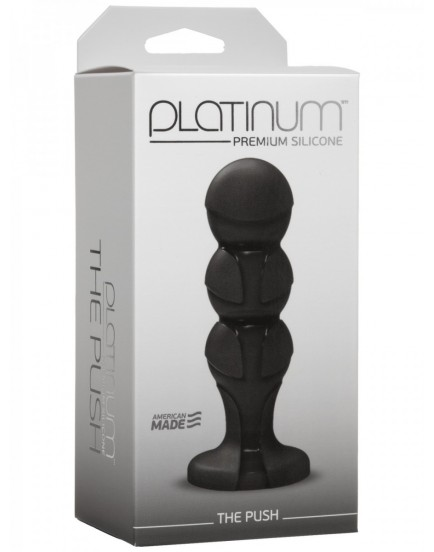 Anální kolík ze silikonu Platinum THE PUSH Black - 12cm