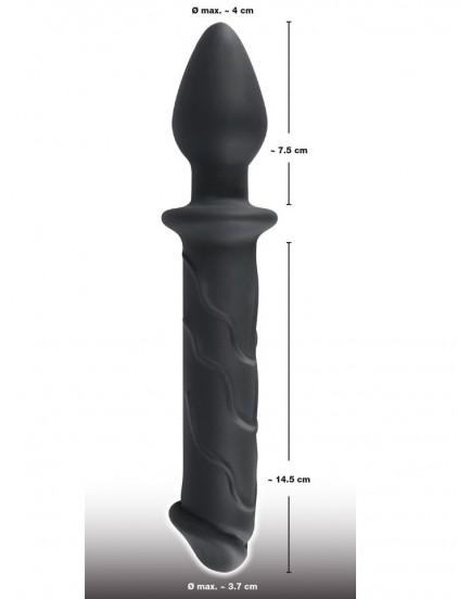 Oboustranné silikonové dildo s análním kolíkem - Black Velvets
