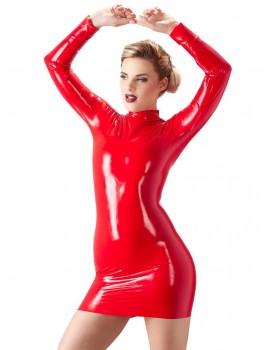 Červené latexové minišaty s dlouhým rukávem - LateX