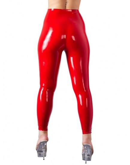 Červené latexové legíny s vysokým pasem - LateX