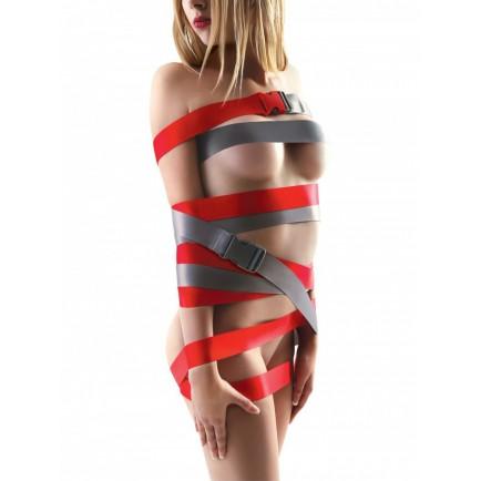 Bondage popruhy s přezkami Strap-Ease XL, 2x 1,2 m (červené)