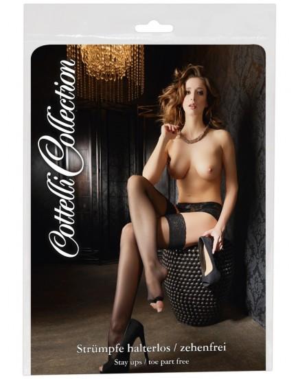 Samodržící punčochy s otevřenou špičkou - Cottelli Collection
