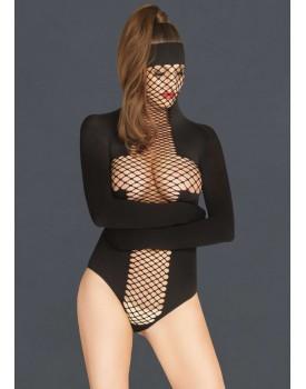 Body s maskou a zavazovacími rukávy - Leg Avenue