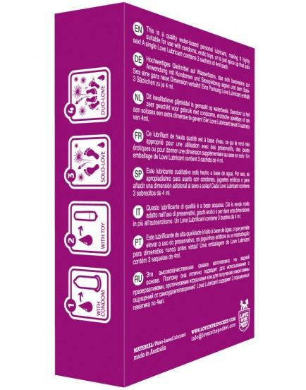 Lubrikační gel na vodní bázi v kapesním balení Love Lubricant - 3x 4 ml