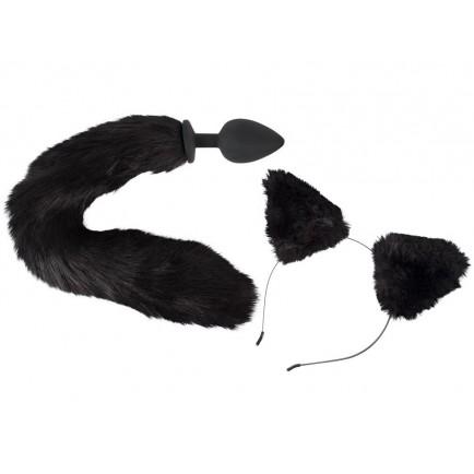 Pet Play Kit - anální kolík s ocasem a čelenka s ušima Bad Kitty