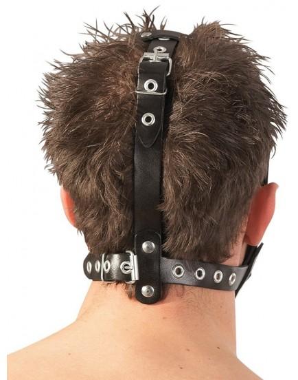 Kožený postroj na hlavu ZADO s dildem