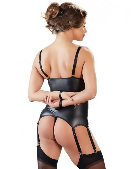 Top s podvazky a pouty na ruce + tanga s otevřeným rozkrokem - BONDAGE Cottelli Collection