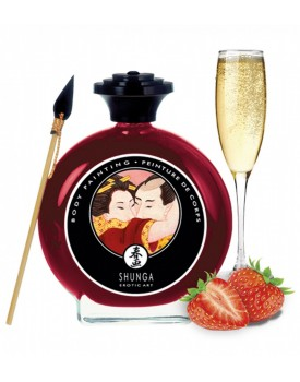 Slíbatelný bodypainting Sparkling Strawberry Wine - Shunga, 100 ml