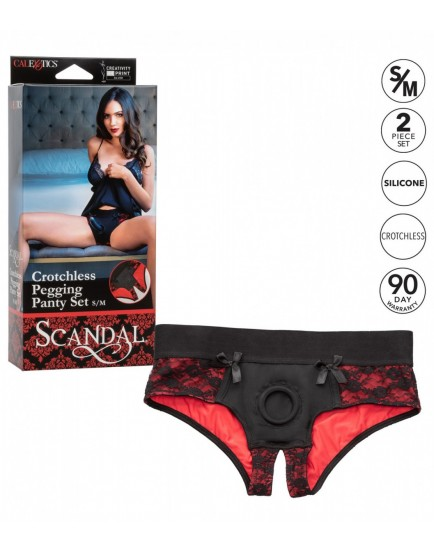 Kalhotky s otevřeným rozkrokem/univerzální harnes + dildo (Scandal)