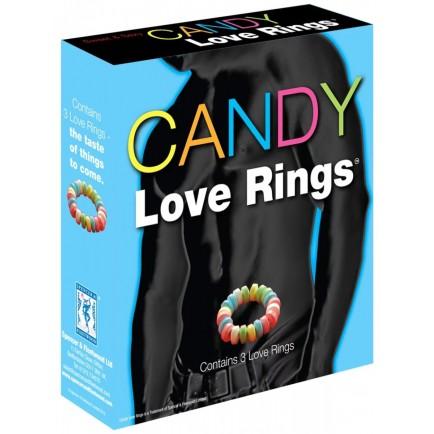 Kroužky na penis z bonbónů Candy Love Rings - 3 ks
