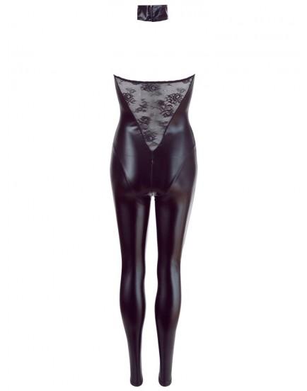 Lesklý catsuit s krajkou a zipem v rozkroku - Cottelli Collection