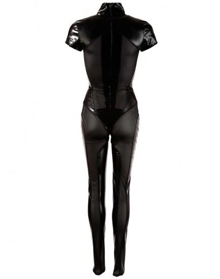 Lesklý overal s průsvitnými vsadkami a zipy na prsou a v rozkroku - Cottelli Collection