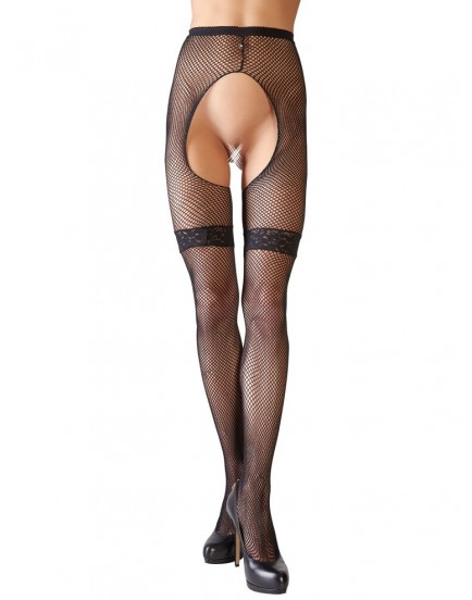 Černé síťované punčochové kalhoty s otevřeným rozkrokem - Cottelli Collection