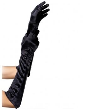 Dlouhé saténové rukavice s knoflíčky - Leg Avenue