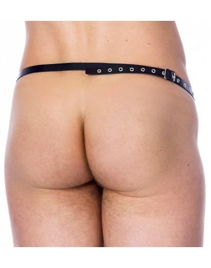 Kovová klec na penis s koženým popruhem - Rimba