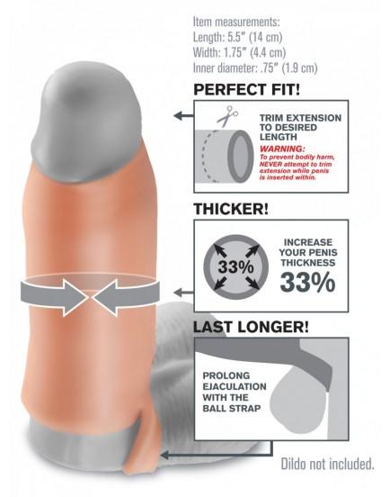 """Návlek na penis Fantasy X-tensions 5,5"""" (13 cm) - otevřený, s poutkem"""