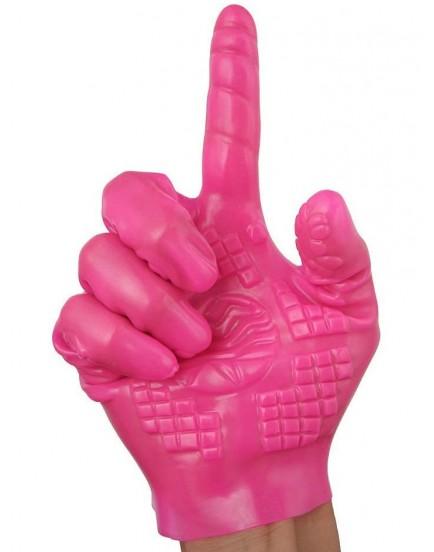Růžová masturbační rukavice se stimulačními výstupky - 1 ks
