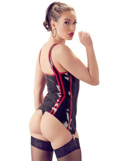Černý latexový top s podvazky, zipem a červenými proužky LateX
