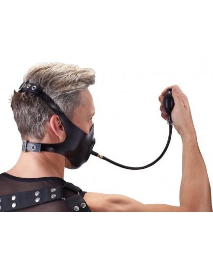 Latexová maska/roubík s nafukovacím dildem - LateX