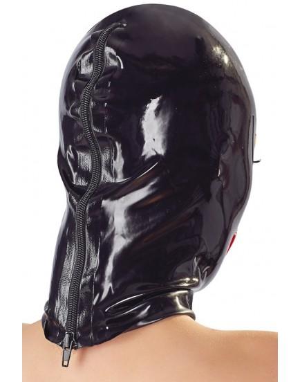 Unisex latexová maska s červenými rty a zipem - LateX