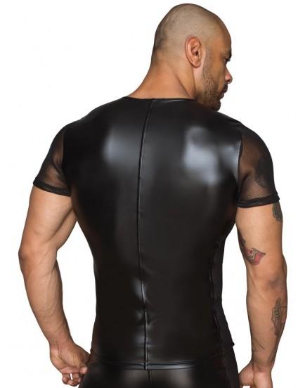 Lesklé pánské triko s průsvitnými rukávy a boky - NOIR