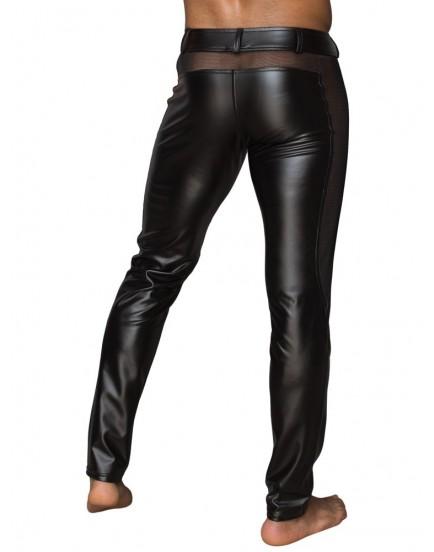Lesklé pánské kalhoty s průsvitnými vsadkami - NOIR