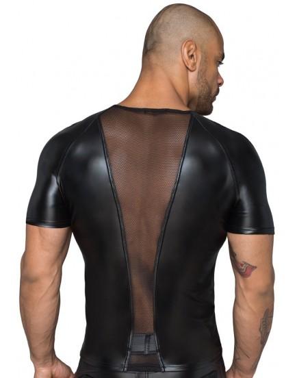 Lesklé pánské triko s průsvitnými vsadkami - NOIR