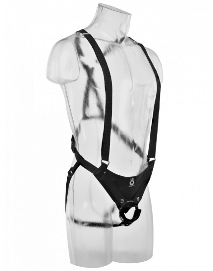 "Dutý připínák 10"" Hollow Strap-On Suspender System - King Cock"