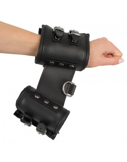 Robustní široká kožená pouta na ruce - ZADO