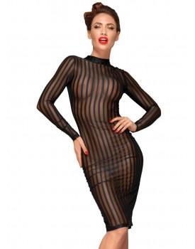 Průsvitné šaty s proužky, límečkem a dlouhými rukávy - NOIR